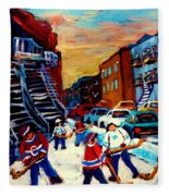 Hockey Paintings Of Montreal St Urbain Street City Scenes Fleece Blanket