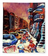 Hockey Paintings Of Montreal St Urbain Street Winterscene Fleece Blanket