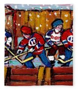 Hockey Rink Paintings New York Rangers Vs Habs Original Six Teams Hockey Winter Scene Carole Spandau Fleece Blanket
