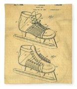 Hockey Skates Patent Art Blueprint Drawing Fleece Blanket