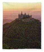 Hohenzollern Castle At Sunset Fleece Blanket