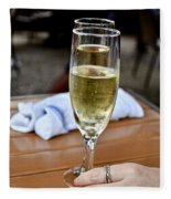 Holding Champagne Glass In Hand Fleece Blanket