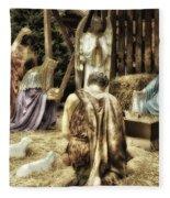 Holiday Christmas Manger Pa 02 Fleece Blanket