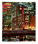 Holiday Colors Along Chicago River Fleece Blanket