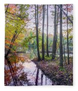 Holiday Park Lake At Dusk Fleece Blanket