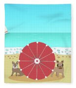 Holiday Romance Behind The Red Umbrella Fleece Blanket