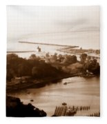 Holland Michigan Harbor Big Red Aerial Photo Fleece Blanket