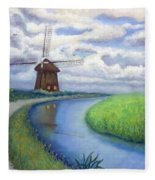 Holland Windmill Bike Path Fleece Blanket