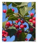Holly Berries On A Wintry Day I Fleece Blanket