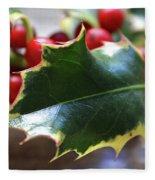 Holly Berries- Photograph By Linda Woods Fleece Blanket