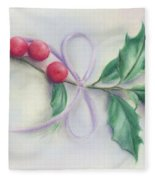 Holly Sprig With Bow Fleece Blanket