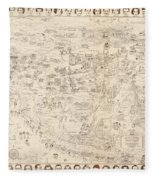 Hollywood Map To The Stars 1937 Fleece Blanket