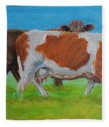 Holstein Friesian Cow And Brown Cow Fleece Blanket