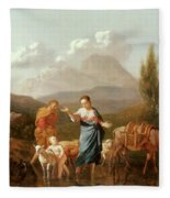 Holy Family At A Stream Fleece Blanket