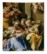 Holy Family With Saint Anne Catherine Of Alexandria And Mary Magdalene Fleece Blanket