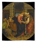 Holy Family With Saints John Elisabeth And Zacharias Fleece Blanket