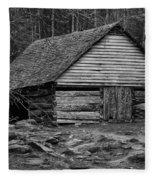 Home In The Woods Bw Fleece Blanket