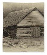 Home In The Woods Sepia Fleece Blanket