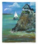Home Overlooking The Sea Fleece Blanket