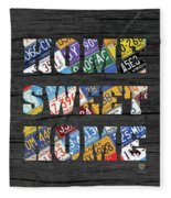 Home Sweet Home Rustic Vintage License Plate Lettering Sign Art Fleece Blanket