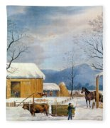 Home To Thanksgiving, 1867 Fleece Blanket
