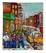 Home Town Painting St Viateur Bagel Street Scene Coca Cola Truck Montreal 375 Carole Spandau Art     Fleece Blanket