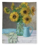 Homegrown - Sunflowers In A Mason Jar With Gardening Gloves And Blue Cream Pitcher Fleece Blanket