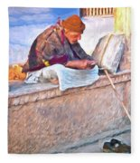 Homeless Man In India Fleece Blanket
