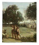 Homer And The Shepherds In A Landscape Fleece Blanket