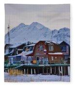 Homer Spit Board Walk Winter Moments Fleece Blanket