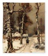 Homeward Through The Winter Forest Fleece Blanket