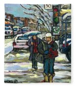 Rue Cote St Catherine Peintures Petit Format A Vendre Scenes De Ville Montreal Street Scenes  Fleece Blanket