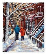 Promenade En Hiver Winter Walk Scenes D'hiver Montreal Street Scene In Winter Fleece Blanket