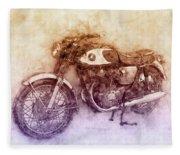 Honda Cb77 - Honda Motorcycles 2 - Motorcycle Poster - Automotive Art Fleece Blanket