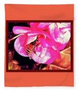 Honey Bee In A Pink Flower Fleece Blanket