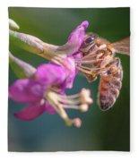 Honey Bee On Goji Berry Flower Fleece Blanket