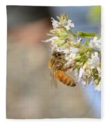 Honey Bee On Herb Flowers Fleece Blanket