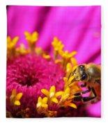 Honey Bee Pollinating Zinnia Fleece Blanket