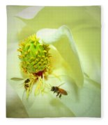 Honey Bees And Magnolia II Fleece Blanket