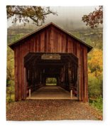Honey Run Covered Bridge In Autumn Fleece Blanket