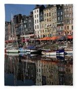 Honfleur Harbour France Fleece Blanket