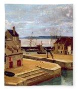 Honfleur  Houses On The Quay Fleece Blanket