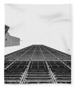 Hong Kong Building Black And White Fleece Blanket