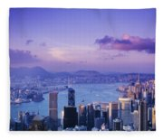 Hong Kong Harbor Fleece Blanket