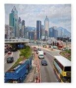 Hong Kong Traffic II Fleece Blanket
