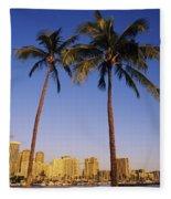 Honolulu And Palms Fleece Blanket