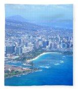 Honolulu And Waikiki From The Air Fleece Blanket