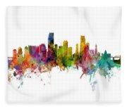 Honolulu, Miami And Nashville Skylines Mashup Fleece Blanket