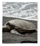 Honu Sleeping On The Shoreline At Punalu'u Fleece Blanket