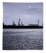 Hook Of Holland Shipping Canal Fleece Blanket